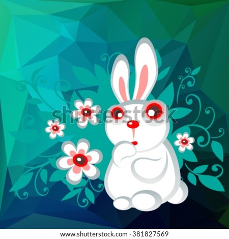 Stylized Easter rabbit with flowers on a green-blue polygonal background.