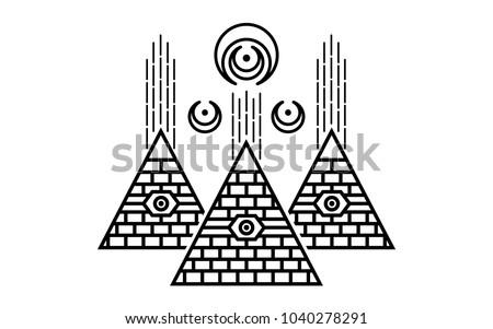 Stylized Egyptian Pyramids Mystical Symbol Knowledge Stock Vector