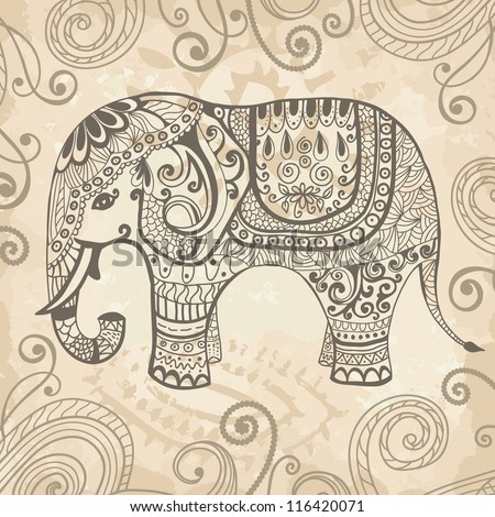 Stylized fantasy patterned elephant. Hand drawn vector illustration. Can be used separately from backdrop
