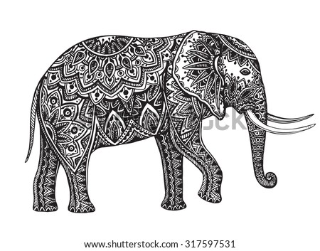 Stylized fantasy patterned elephant. Hand drawn vector illustration with traditional oriental floral elements.  - stock vector