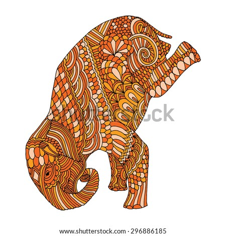 Stylized fantasy patterned elephant on front feet - stock vector