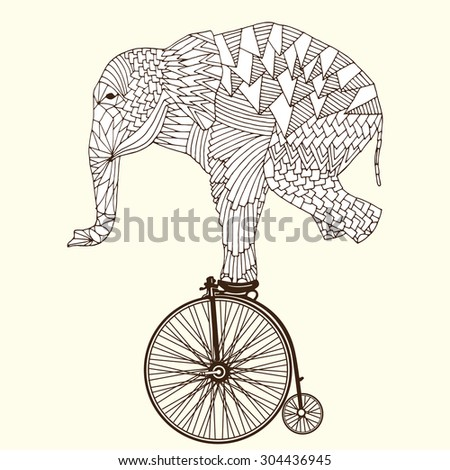Stylized fantasy patterned elephant on vintage bicycle. Good for T-shirt, bag or whatever print. Vector illustration - stock vector