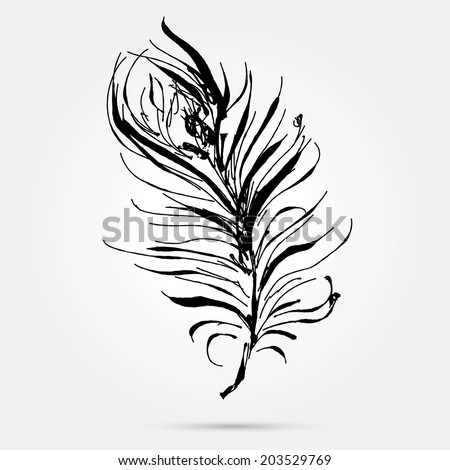 stylized feather - concept for writing and literature. Natural element, the object icon. Hand drawn vector illustration. - stock vector