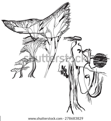 Stylized figure with hair in the wind (trees in the background). An hand drawn vector illustration from the series: Art of Line Art. Technique: Digital drawing. - stock vector