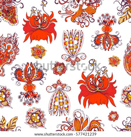 Floral Decorations folk russian seamless pattern floral border stock vector 292737089