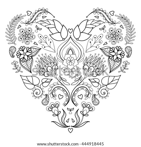 Stylized Floral heart. Hand rawn Vector Illustration. Ethnic floral background with decorative doodle elements for greeting card, tattoo, t-shirt