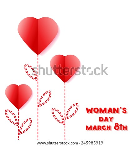Stylized flowers cut from paper red hearts. Paper Applique to Women's Day March 8. International Women's Day, March 8. Gift card With space for your message. Vector illustration. EPS 10 - stock vector
