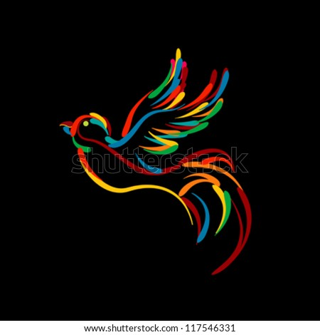 Stylized flying bird icon, isolated objects on black background - stock vector