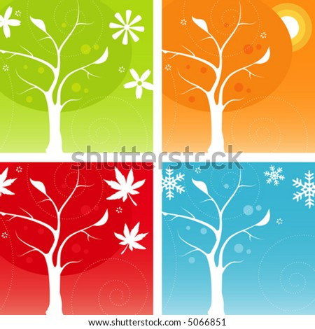 Stylized Four Seasons Icon Set - stock vector