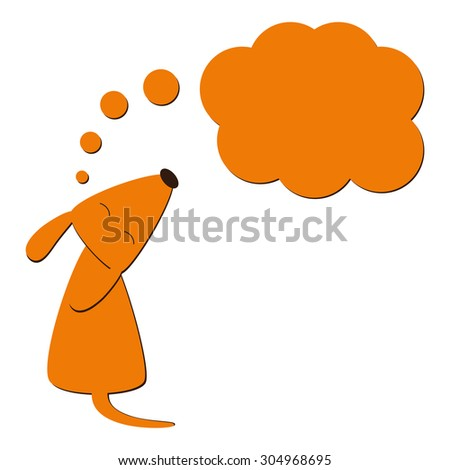 Stylized foxy colored dog sitting with its head up, closes eyes, curled tail and big dream bubble in the shape of big cloud near it isolated on white background. Logo template. Design element - stock vector