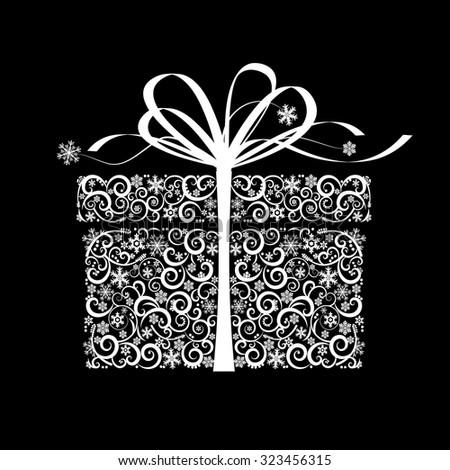 Stylized gift box - vector illustration - stock vector