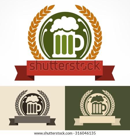 Stylized glass mug of  light beer & wreath, vector illustration - stock vector