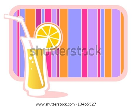 Stylized glass of lemonade with striped frame isolated on a white background. - stock vector