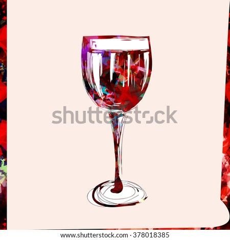 Stylized glass of wine. Freehand drawing on paper. Cover for menu or wine list. Watercolor effect. - stock vector