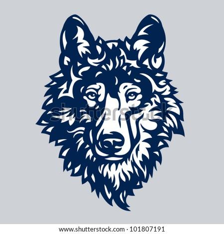 Stylized graceful gray wolf head, vector illustration - stock vector