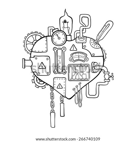 Stylized graphic image of the mechanical heart, embedded with the variety of mechanisms, pipes, wires and gears. - stock vector
