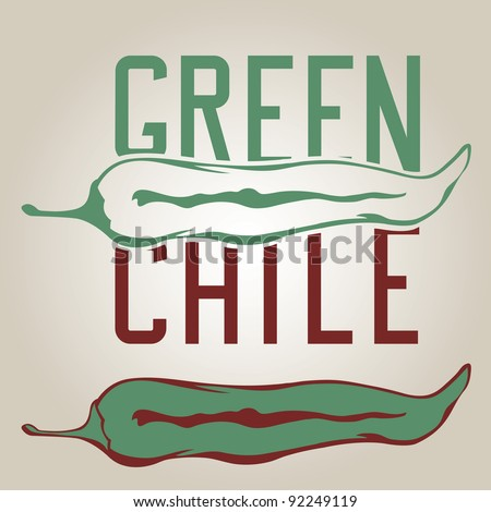 Stylized green chile pepper with drawn letters - stock vector