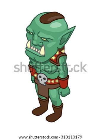 stylized green orc on a white background