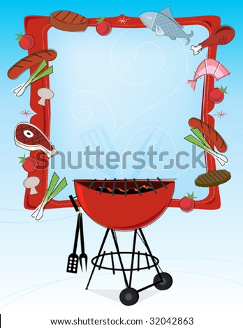 Stylized grilled food icons and bbq grill with frame and copyspace. Layered file for easy edit. - stock vector
