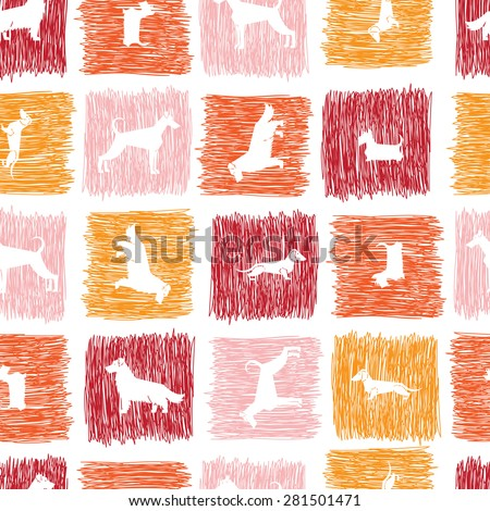 Stylized hand drawn dog breeds silhouettes  seamless pattern. All objects are conveniently grouped and are easily editable. - stock vector