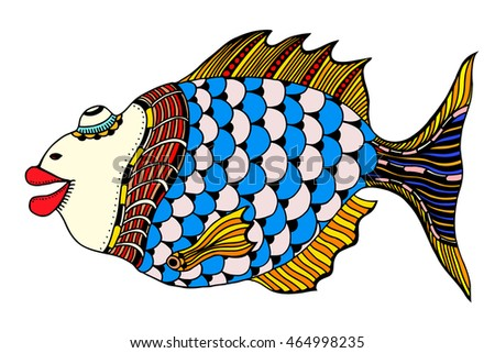 Stylized Hand Drawn Fish. Vector illustration image