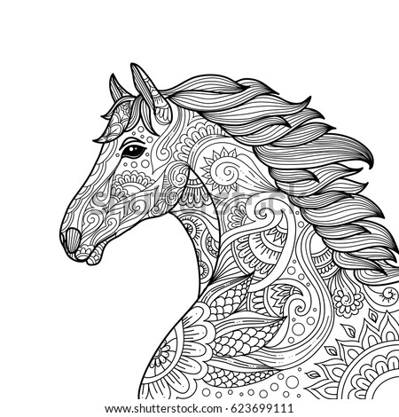 Stylized Hand Drawn Head Horse Coloring Page For Adults Vector Illustration Anti Stress