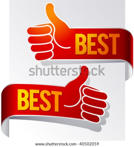 Stylized hand pointer with a raised thumb - stock vector