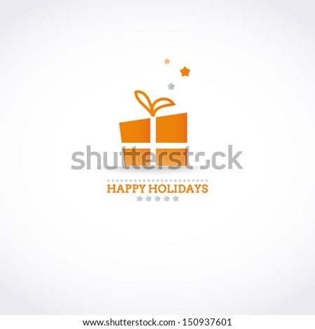 Stylized Happy Holiday card with holiday gift box and stars - stock vector