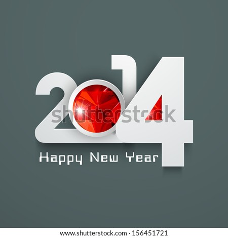 Stylized Happy New Year 2014 celebration background.  - stock vector