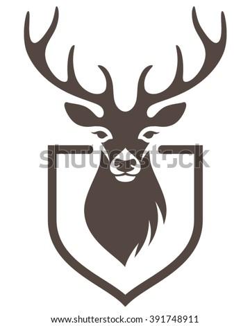 Stylized Head Deer On Shield Symbol Stock Vector 391748911
