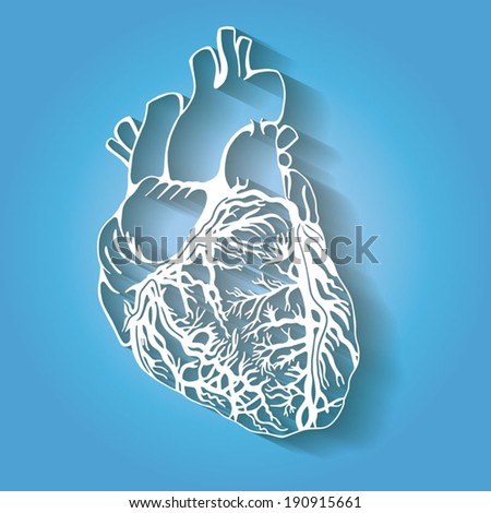 Stylized heart, medical sketch illustration, hand drawn artwork, flat icon style, isolated white on blue background - stock vector