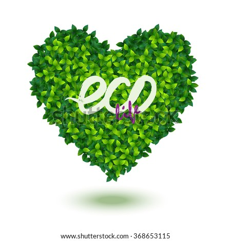stylized heart symbol made of many fresh green leaves - stock vector
