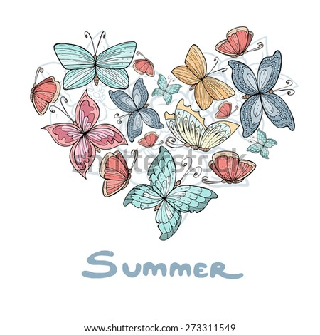 Stylized heart with hand drawn summer flowers and butterflies on white background. Vector for use in design - stock vector