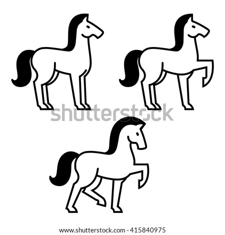 Stylized horse icon set, three horses in different poses. Vector illustration. - stock vector