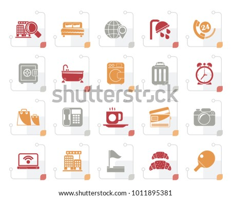 Stylized Hotel and motel services icons 1- vector icon set