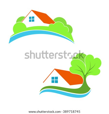 Stylized house icons for real estate, eco friendly house, suburb and countryside home  - stock vector