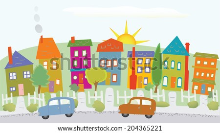 Stylized houses on a hill, two cars, sunshine, trees/Houses on a hill - stock vector