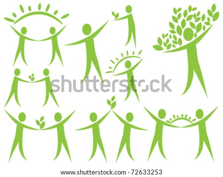 Stylized human figures- the concept of ecology - stock vector