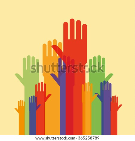 Stylized human hands and arms raised up as if seeking attention in various sizes for perspective and opaque colours for depth with copy space - stock vector