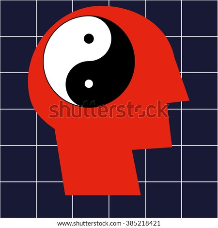 Stylized human head in profile with a Yin Yang symbol in the brain area as a concept for balance and harmony in your lifestyle - stock vector