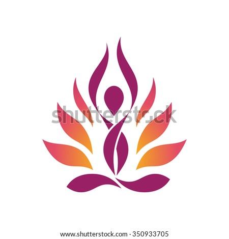 Yoga Lotus Symbol Stylized human yoga shape in abstract lotus symbol. Vector icon.