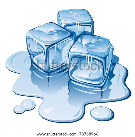Stylized Ice Cubes on White Background. Vector Illustration - stock vector
