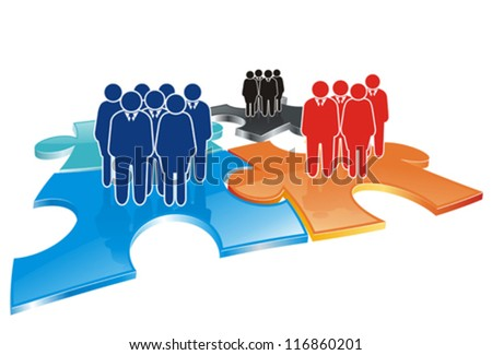 stylized icon as abstract colorful business team on puzzle field