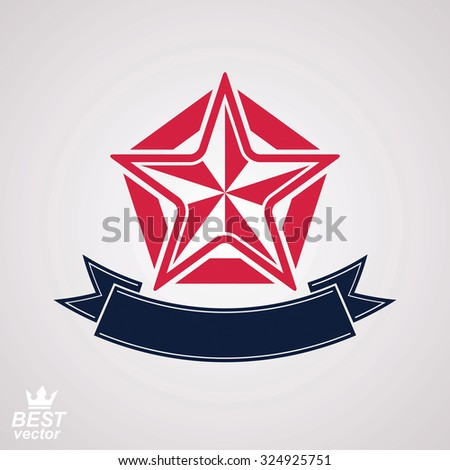 Stylized icon, clear eps8 symbol. Vector pentagonal star with decorative ribbon, isolated on white background. - stock vector