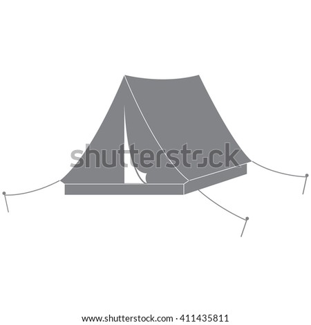 Stylized icon of a colored tourist tent on a white background