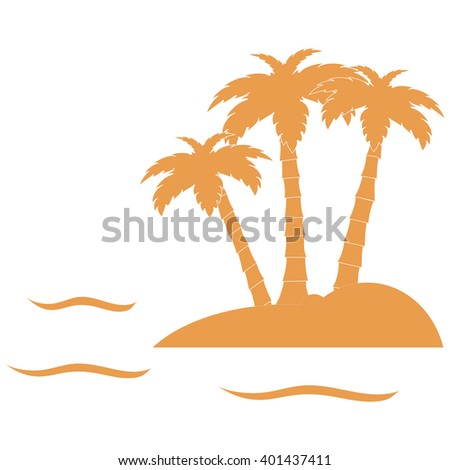 Stylized icon of the island with three palm trees surrounded by the sea with waves on white background