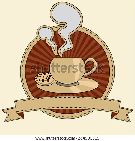 Stylized illustration of a coffee or tea cup with a ribbon. - stock vector