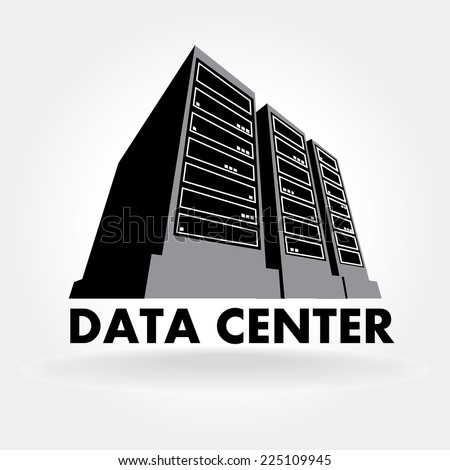 Stylized illustration of a data center a supercomputer for Data center setup