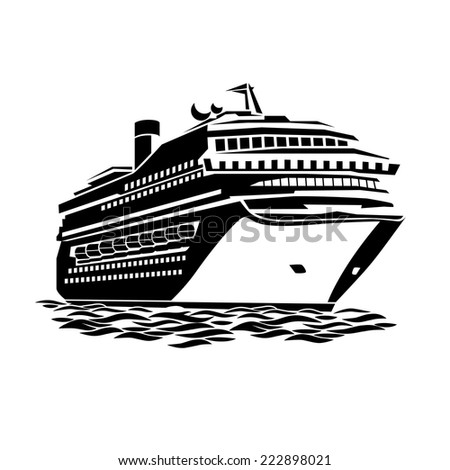 stylized illustration of a large cruise ship on the ocean waves - stock vector