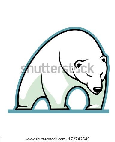 Stylized illustration of a sleepy white polar bear standing, isolated on white background - stock vector
